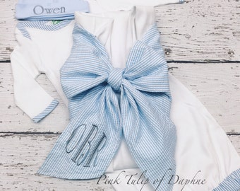 Newborn layette set, Infant boy gown set, Newborn gown and cap set, baby boy gown set, Blanket with bow, Swaddle Blanket with bow