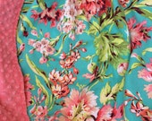 """29x35"""" Bliss Bouquet Floral Design 100% Cotton in Teal Coral Pink Green Vintage Style with Coral Minky Dimple Dot Blanket Ready to Ship"""