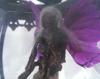 Purple Winged Mummified Fairy in Extra Large Lantern