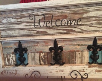Salvaged Window and Old Wood Upscaled Into Welcome Sign with Fleur de Lis