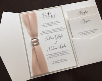 Glitter Pocketfold Wedding Invitation, Blush and Gold Wedding Invite, Wedding Invitation, PATRICIA