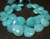 """242 carat-AAA Large Amazonite Faceted Heart Briolettes- 7.50"""" Strand -Stones measure- 14-16mm"""