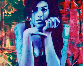 Amy Winehouse Giclee Canvas Musician Guitar Celebrity Print Wall Art Colorful Abstract Pop Art
