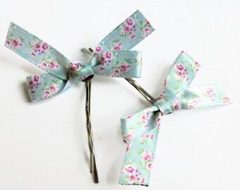 Bow hair barrettes , flower bow hair clips, mint green flower bow hair slides.