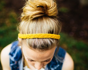 Skinny Braided Headband in Mustard Yellow, Women's Headband, Workout Headband, Woven Headband, Stretchy Knit Headband, Adult Headband,Cloth