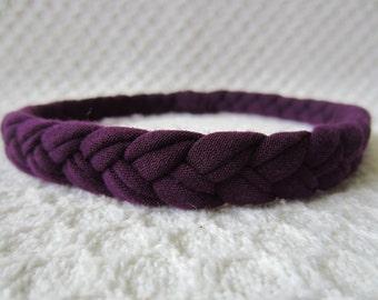 Purple Skinny Braided Headband, Purple Headband, Women's Headband, Adult Headband, Comfortable Headband, Boho Headband, Stocking Stuffer