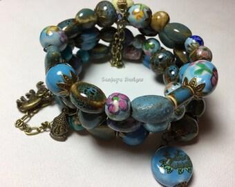 Blue themed Porcelain multi tiered bronze bracelet