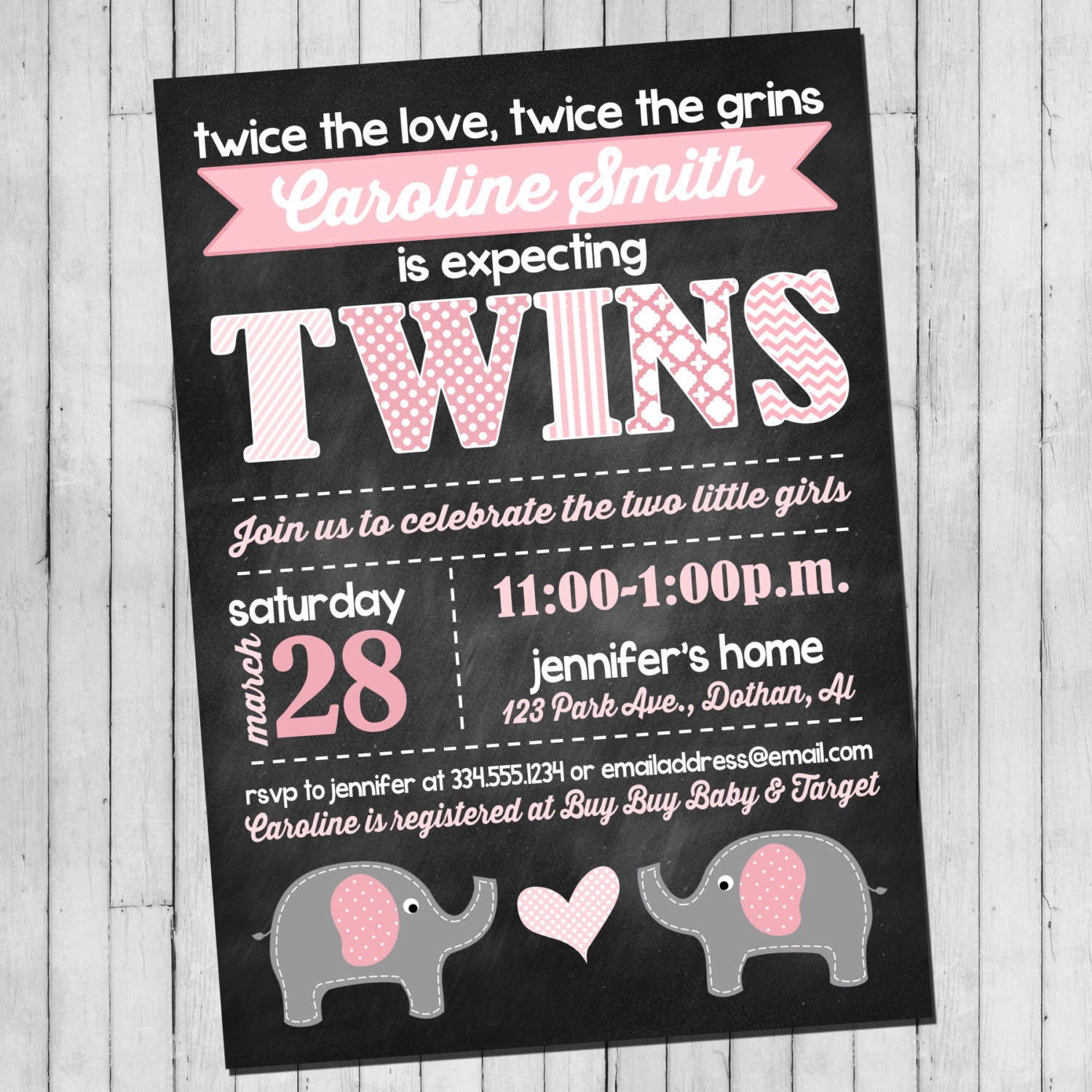 Twin Girl Baby Shower Invitation Pink Gray Elephant