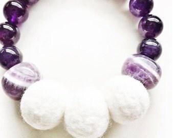 Aromatherapy Amethyst Bracelet . Amethyst Natural Stone Bracelet with felted beads . Aromatherapy