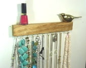 Jewelry Organizer Display Hanger Holder Shelf Golden Oak Stain Handmade Rustic Ready to Ship