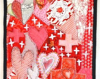 Art Quilt  Cross My Heart Quilt  Original Mixed Media Quilt  Red White Black Art Quilt  Textile Art  February Quilt Pam George Quilts