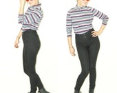 70s stripe shirt / stripe turtle neck / 70s turtle neck / hippie blouse / stripe blouse / american flag strip shirt