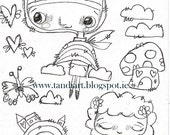 Rainbow Fairy Stamp 2- digital stamp, digital art, art journaling, papercraft, a printable image, coloring page, fairy and rainbow