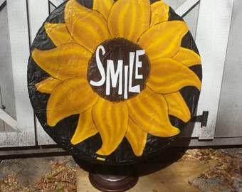 Sunflowers,  monogrammed,  personalized, made to order, gift for her, hand painted spare tire covers, jeep liberty
