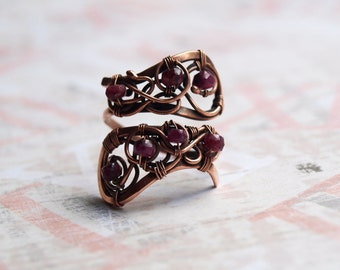 Ruby Ring Copper Ring Adjustable Ring Red Ruby Wire Wrapped July Birthstone Ring copper jewelry ring with ruby