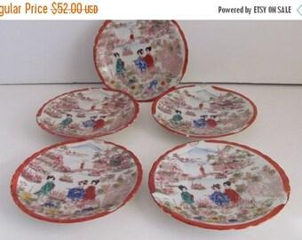 SALE Antique Geisha Girl Porcelain Plates set of 5 Japanese Geisha Girls Geisha Ware Japanese Kutani Japanese China