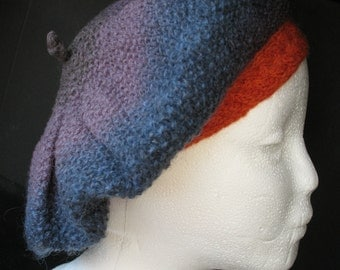 Blue Purple Tam Beret Cap Slouch Hat Wool Adult Size Made in Vermont Kauni EF Yarn from Denmark