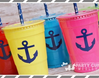 Set of 10-Nautical Party Cups-Anchors Party Cups, Favor Cups