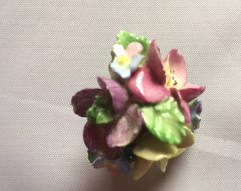 Vintage Coalport Flower Cluster Brooch - Enameled English China
