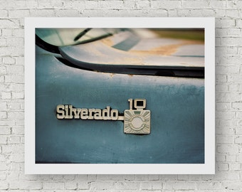 Vintage Chevrolet Silverado Truck Photography | Classic Chevy Truck Art | Rustic Office Wall Decor