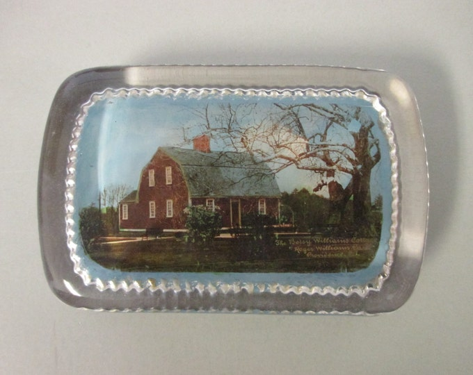 "4"" x 2-5/8"" Vintage Glass Block Paperweight 'Betsy Williams Cottage / Roger Williams Park, Providence RI"" (1920s)"