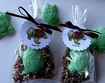 10 Jolly Green Turtle Soap Favors, Children, Set of 10 Party Favors Complete with Packaging, Birthdays