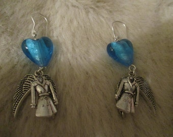 Supernatural inspired Castiel 'Too much heart'  earrings (coat and wings)