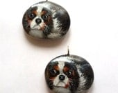 Custom pet portrait, painted rock keychain.