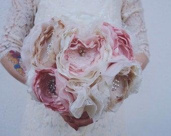 Vintage style fabric bouquet, brooch bouquet, fabric bride bouquet