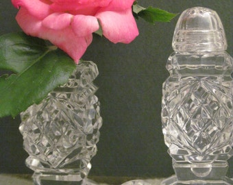 Vintage Bohemia Czech Cut Crystal Salt and Pepper Shakers with Crytal Tops