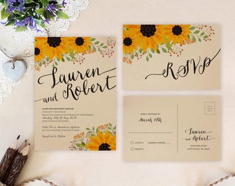 rustic sunflower wedding invitation and rsvp set kraft wedding invitations printed country cottage - Sunflower Wedding Invitations