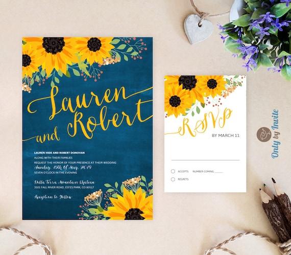 Sunflower Wedding Invitation Kits Cheap Blue By OnlybyInvite