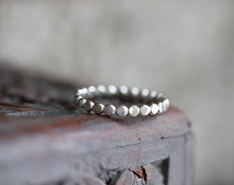 Dotted Stacking Ring, Beaded Stacking Ring, Hammered, Sterling Silver, 3mm, Beaded Ring, Eco Friendly, Recycled, Sterling Silver
