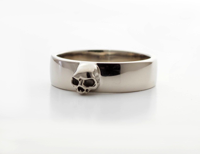 grooms skull ring mens skull wedding band goth groom ring skull wedding pair small mens skull ring sterling wedding band wed set all sizes - Mens Skull Wedding Rings