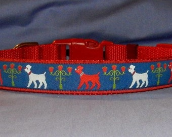 Red and White Poodles collar