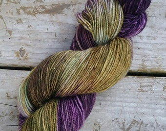 Khaki and purple hand dyed yarn, sock yarn, superwash merino, fingering yarn