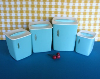 Turquoise Canister Set - Rubbermaid - Hard Plastic - Gold Foil - Vintage 1950's