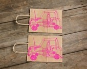Medium Brown Paper Bag Screen printed with Wire Car Design in Pink ink