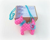 Scottie Dog textile necklace. Pink polka dot turquise ball chain . Hand embroidered stuffed dog. Dog lovers - pet mom. Birthday gift (1pc)