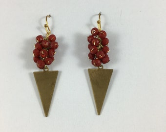 Antiqued Red Triangle Earrings