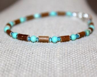 Hazelwood Anklet or Bracelet, Sizes 5-10 Inch, Turquoise Magnesite Stone (Therapeutic Bracelet)