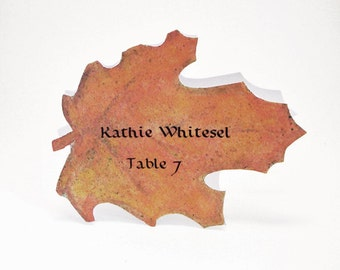 Muted Leaf Place Card - Fall - Unique - Wedding Place Card - Event Escort Card - Customized