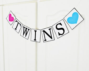 FREE SHIPPING, Twins banner, Baby shower decorations, Baby gender announcements, Baby photo prop, Gift for mother and babys