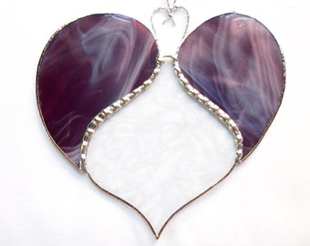 Stained Glass Burgandy Heart Suncatcher