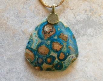 Malachite Man Made Artistically Enhanced Stone Pendant
