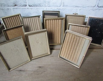 10 Mismatched Vintage Gold Frames  Different Sizes ONE Extra Frame