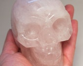 Rose Quartz Crystal Skull 4 inches 100mm Unconditional Love Energies! Huge size! helps process grief