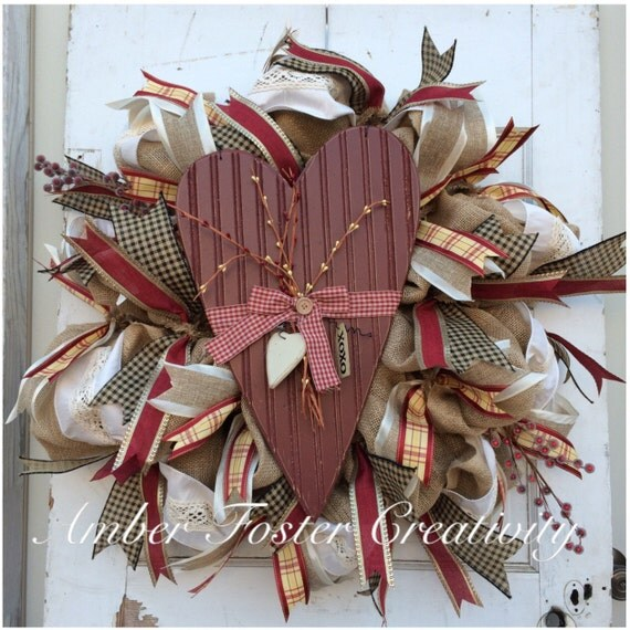 Rustic Burlap Valentine's Day Wreath