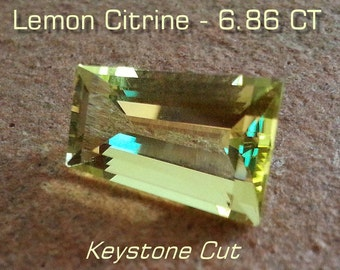 Gemstone Lemon Citrine 6.86 CT Keystone Cut - Reduced - Free Shipping/Insurance