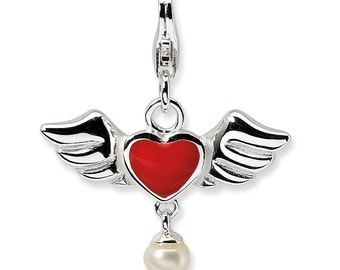 Sterling Silver 3-D Winged Red Heart FW Cultured Pearl w/Lobster Charm
